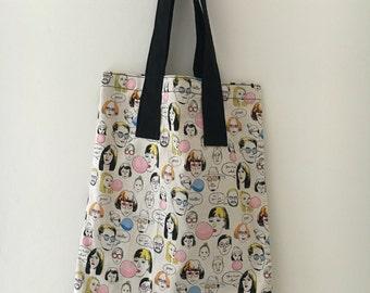 Handmade japanese cream cotton tote bag