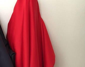 Smooth red silk satin medium weight fabric
