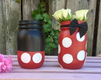 Minnie and Mickey Mason Jar Set