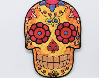 Golden Skull iron on patch