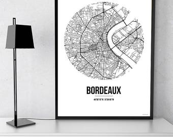 Poster card Bordeaux Street Map - City map, post town, wall Decoration, city map