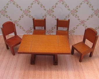Vintage 1960s Barton Wooden Dolls House Furniture - Table and Chairs