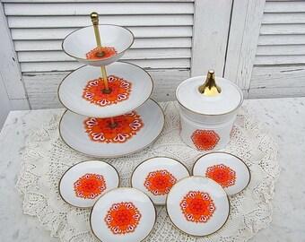 flower power Etagere, cookie jar + 5 coasters, Winterling German pop art design