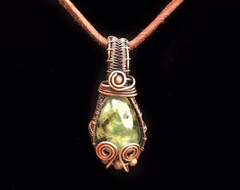 Cute Prehnite cab wrapped in oxidized copper