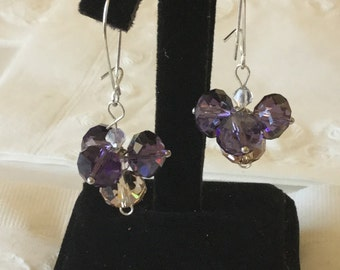 Purple glass bead cluster earrings