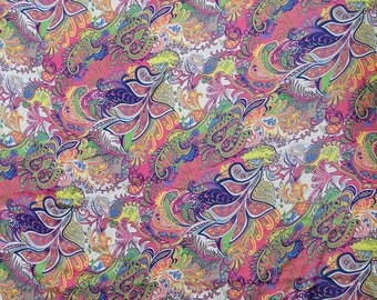 """Satin Fabric, Paisley Print, Quilting Fabric, Sewing Material, Dress Making Fabric, 45"""" Inch Indian Fabric By The Yard FSS259B"""