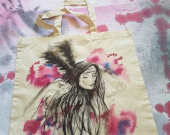 xNATIVE AMERICAN GIRL WATERCOLOURx || handdrawn ||