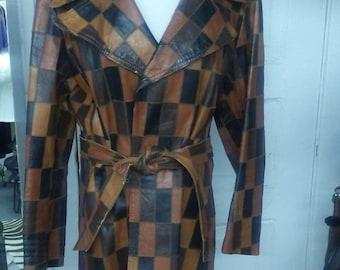 70's Patchwork Leather Coat