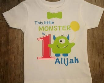 Little Monster, Lil' Monster, Birthday Shirt or Onesie, 6 Month Thru As Big As You Need...Personalized Front AND Back!