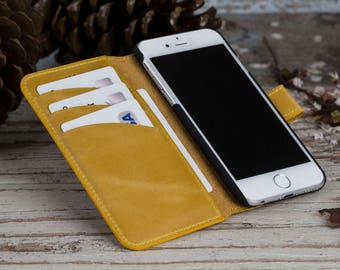 iPhone 6 Cases, iPhone 6 Leather Case, iPhone 6S Case, iPhone 6S Leather Case, Personalized iPhone Case, Yellow iPhone Case, Mothers Day