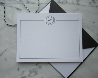 Personalised Notecards with Initials - Set of 5 Cards with Envelopes