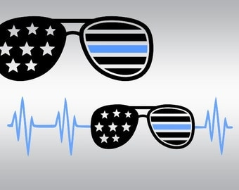 Thin blue line svg, Back the blue svg, Police svg, Sunglasses svg, SVG Files, Cricut, Cameo, Cut file, Files, Clipart, Svg, DXF, Png, Eps