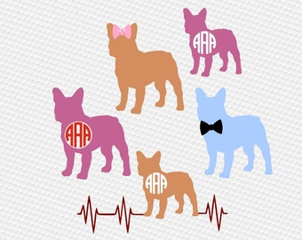 Bulldog svg, French Bulldog svg, Frech bulldog monogram svg, Frenchie svg, SVG Files, Cricut, Cameo, Cut file, Clipart, Svg, DXF, Png, Eps