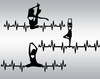 Yoga pose svg, Yoga svg, Yoga heartbeat svg, Pilates svg, Namaste svg, Meditation svg, Cricut, Cameo, Cut file, Clipart, Svg, DXF, Png, Eps