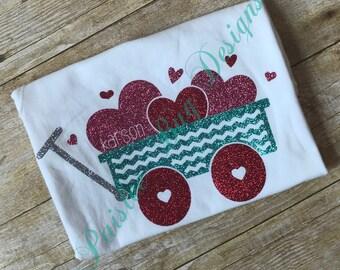 Valentine's Shirt, Girls Valentine's Shirt, Wagon with Hearts Shirt, Full of Love