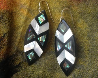 Vintage shell inlay earrings c1980s