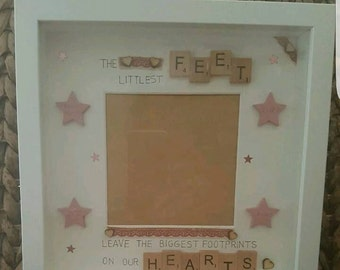 Tiny feet new baby/memorial frame. Handmade and personalised