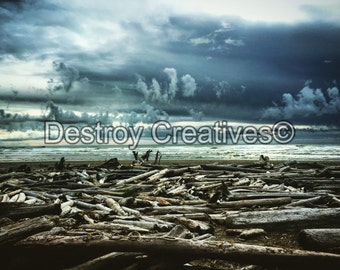FREE SHIPPING // Beach Decor photography // Storm Clouds at Beach Scene // Oceanscape Sky // Ocean // Color