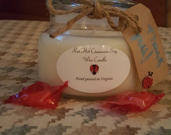 Red Hot Cinnamon Soy Wax Candle 8 oz. Apothecary Jar