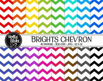 Buy 1 Get 1 Free!! 16 Bright Chevron Digital Paper • Rainbow Digital Paper • Commercial Use • Instant Download • #CHEVRON-122-1-B