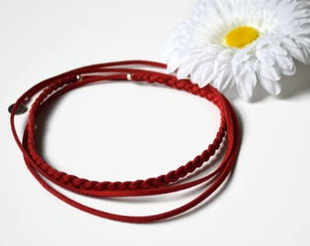 Braided Choker, red, minimalist, suede, necklace, Bracelet, headband, red and silver charm stainless steel - Vegan