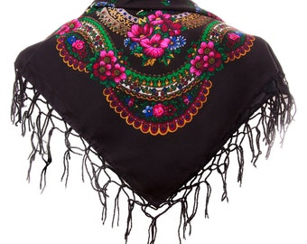 BLACK folk SCARF shawl with flowers and fringes POLAND scarves fashion colors