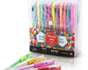 Amazing Gel Pens for Adult Coloring Books by Amerigo - Set of 48 Assorted Colors Includes Glitter, Metallic, Pastel, Neon Gel Pens