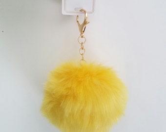 Yellow Faux Fur-ball Key Chain