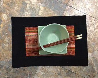 Vintage Handmade Tribal Hmong embroidered cotton plate mat