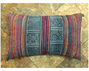 Vintage Handmade Tribal Hmong batik cotton pillow cover