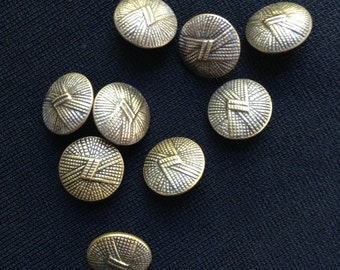 9 vintage art deco style brass buttons