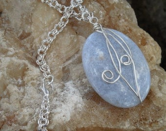 Wire Wrapped Chalcedony Gemstone Pendant Necklace