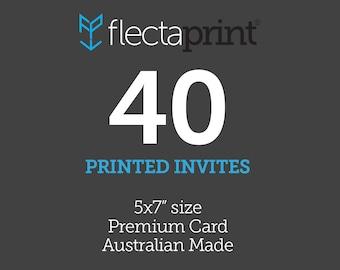 """x40 5x7"""" Printed Invites - Australian Made - Premium Cardstock"""