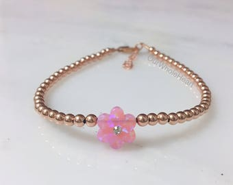 Flower with Crystal Center, Opal Flower, Flower Bracelet, Flower Jewelry, Flower Jewellry