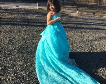Beautiful Aqua Blue Special Occasion Dress, Flower Girl Dress, Fairy Tale Dress