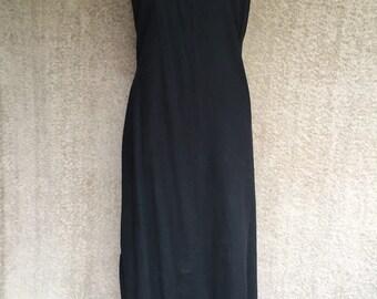 1990s Black Linen Maxi Dress