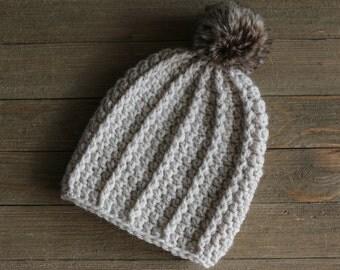Crochet Baby Pom Pom Hat,Photography Prop, Baby Pom Pom Hat, Crochet Hat, Photo Props Newborn, Faux Fur Pom Pom, Baby Gift, Baby Crochet Hat