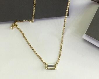14k baguette cut diamond pendant