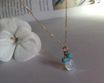 Opal tear drop/ turquoise necklace in 14k yellow gold