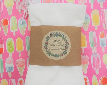 Set of Five Cotton Muslin Drawstring Produce Bags