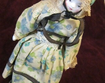 Vintage Bisque Doll on Stand