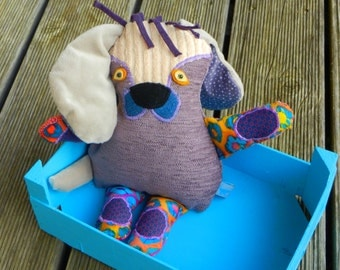 Small dog Violet, doudou unique, handmade padding antiaccariens