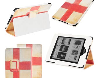 England St George Flag Luxury Leather Smart Case Cover Wallet for Amazon Kindle Touch & Paperwhite 5