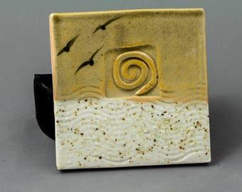 Handmade Lake Michigan Ceramic Coaster with REAL Lake Michigan Sand. Drink Coasters, Hostess Gifts, Beverage Coasters, Trivet, Ceramic Tiles