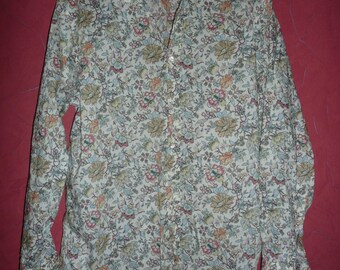 Liberty Print cotton Shirt - romantic made in Italy  sz 16in 41 cm