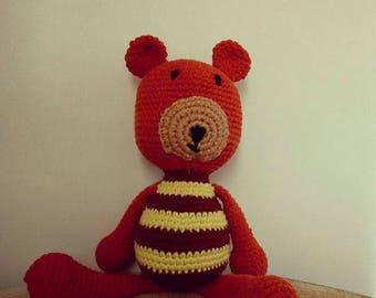 Bear amigurumi crochet orange