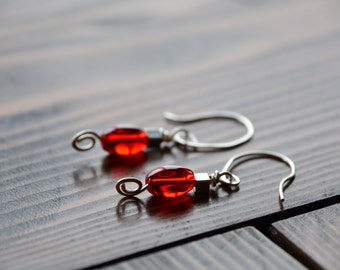 Red Bead with Silver Swirl Earring