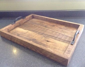 Rustic tea tray with cast iron handles