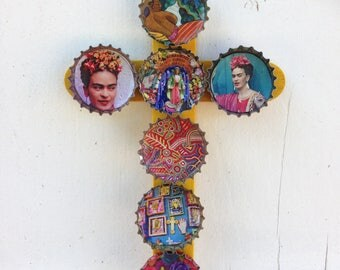 Mexican art recyclart wooden cross