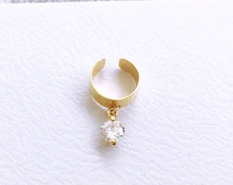 Gold plated ear cuff with crystal drop